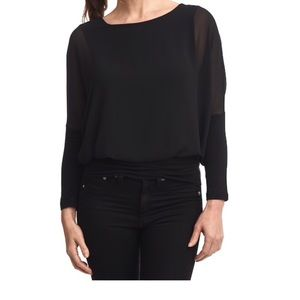 Black Long Sleeve Chiffon Top.